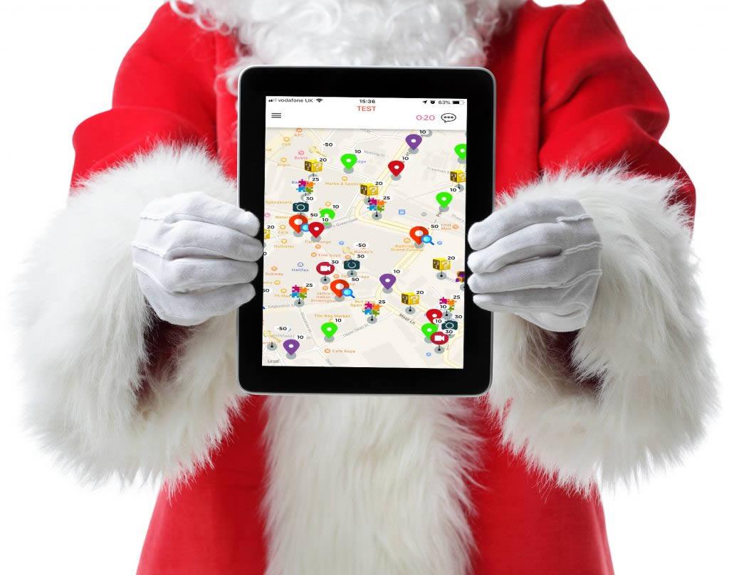 Santa holding an iPad